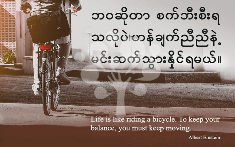 Life is like riding a bicycle. To keep your balance, you must keep moving.