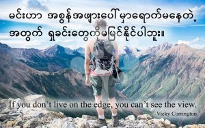 If you don't live on the edge, you can't see the view.
