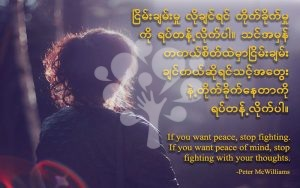 If you want peace,stop fighting.If you want peace of mind, stop fighting with your thoughts.