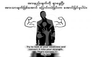 Try to look at your weakness and convert it into your strength. That's success.
